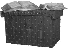 Image of Domesday Book on wooden chest